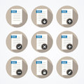 Set of doc file icons with long shadows on round background Stock Image