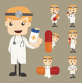Set of doctor characters poses with the pill eps vector format Royalty Free Stock Image