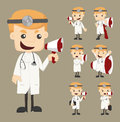 Set of doctor with loud speaker eps vector format Stock Images