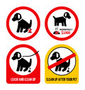 Set of dog dropping signs illustrated droppings prohibited on white background Stock Photography