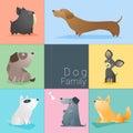 Set of dog family