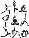 Set of doing yoga poses meditating and Royalty Free Stock Photo