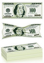 Set of Dollar Bills Royalty Free Stock Photo