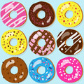 Set of donut icons with different toppings assorted doughnut Royalty Free Stock Images