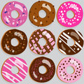 Set of donut icons with different toppings assorted doughnut Royalty Free Stock Photos