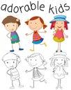 Set of doodle adorable kids