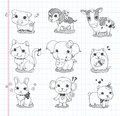 Set of doodle animal icons cartoon vector illustration Stock Photo