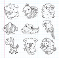 Set of doodle animal icons cartoon vector illustration Stock Image