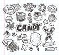 Set of doodle candy icons cartoon vector illustration Royalty Free Stock Image