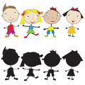 Set of doodle children and their silhouettes Stock Image