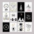 Set of doodle Christmas greeting cards. Vector hand drawn cute icon. Scandinavian style. Xmas tree, houses, garland