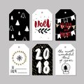Set of doodle Christmas greeting tag. Vector hand drawn cute icons. Scandinavian style. Xmas tree, noel, garland, snow Royalty Free Stock Photo