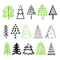 Set of doodle Christmas trees