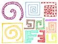 Set of doodle design elements colorful sketchy Stock Image