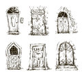 Set of doodle doors sketch vector eps hand drawn Royalty Free Stock Photos