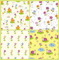 Set of doodle easter seamless patterns with birds flowers and bugs Royalty Free Stock Images