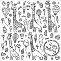 A set of doodle giraffes with knitted scarves and warm winter sweaters surrounded by balloons