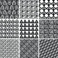 Set of doodle patterns seamless and textures Royalty Free Stock Photos