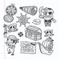 Set of doodle pirate icons cartoon illustration Royalty Free Stock Photos