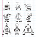 Set of doodle robot icons cartoon vector illustration Royalty Free Stock Photos