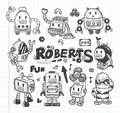 Set of doodle robot icons, illustrator line tools