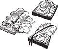 Set of doodle sandwiches black and white vector illustration Royalty Free Stock Photo