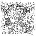 Set of doodle sea animals.