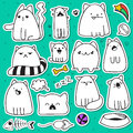 Set of 11 doodle sticker cats with different emotions. Cat handmade Royalty Free Stock Photo