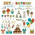 Set of doodles birthday design elements.