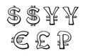 Set of doodles silhouettes signs of world currencies