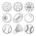 Set of doodles of sports balls