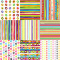 Set of doted and striped backgrounds for kids Royalty Free Stock Photos
