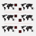 Set of dotted world maps in different resolution Royalty Free Stock Photos