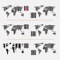 Set of dotted world maps in different resolution Stock Images