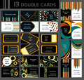 Set of 13 double business cards, colorful Royalty Free Stock Photo