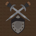 A set of double edged swords medieval shield for design Royalty Free Stock Photography