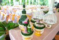 Set of engagement bowl for Thai engagement ceremony some made from banana leaf, focus selective