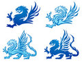 Set of dragon silhouettes Stock Photography