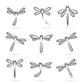 Set of dragonfly icons on white background Stock Photography