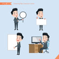 Set of drawing flat character style, business concept young office worker activities - banner, whiteboard, computing, telemarketin Royalty Free Stock Photo