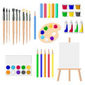 A set of drawing tools: an easel, paints, brushes, pencils, crayons, isolated objects on white background vector illustration. Royalty Free Stock Photo