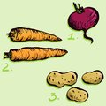 Set of drawing vegetables Royalty Free Stock Photos