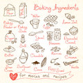 Set drawings of baking ingredients for design Royalty Free Stock Photo
