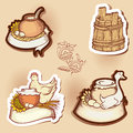 Set of drawings hand drawn compositions with natural food with space for your text Royalty Free Stock Photo