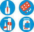 Set of drawings with medicines four icons Royalty Free Stock Image