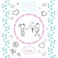 Set of drawings for Valentine`s day heart, couple in love, flowers for decoration of greeting cards