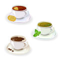 Set of drinks in cups tea and coffee vector illustration Stock Photography
