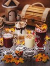 stock image of  Set of drinks. White Chocolate, Cream, Creamy Cocktails and mulled wine