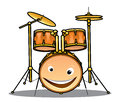 Set of drums and cymbals for a band with happy smiling drum in the foreground cartoon illustration isolated on white Stock Photos