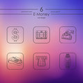Set of e-money icons Royalty Free Stock Photo